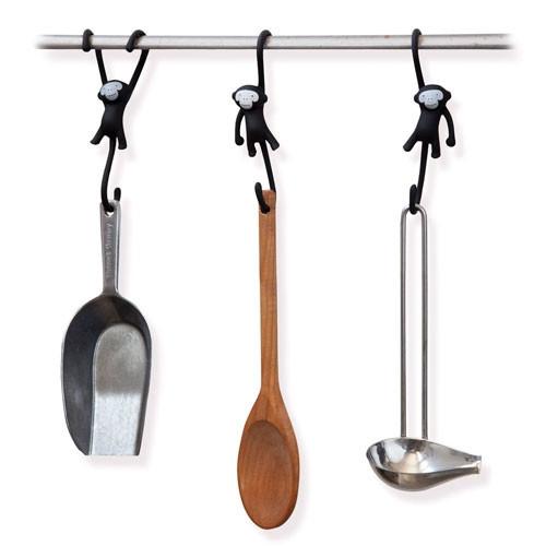 מתלים למטבח קופים תלויים - שחור