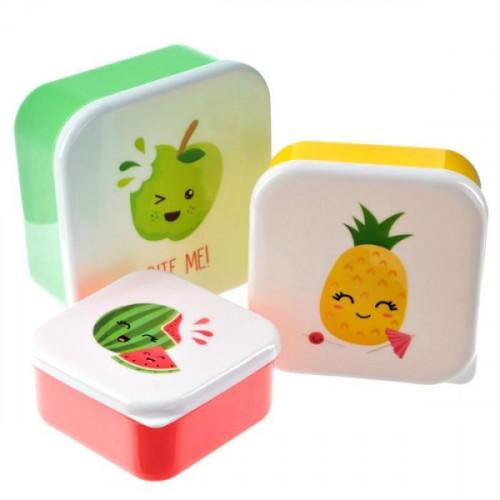 סט 3 קופסאות קומפקטיות  - פירות