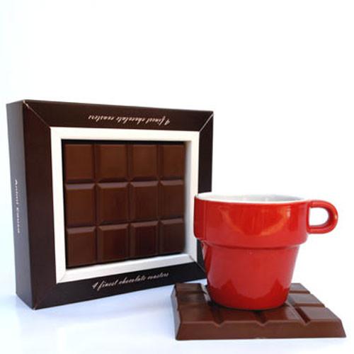 סט 4 תחתיות קפה בעיצוב שוקולד