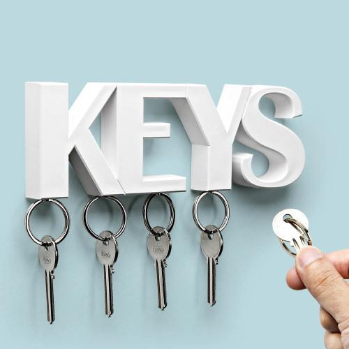 מתלה מפתחות מגנטי מעוצב לקיר - לבן KEYS - QUALY