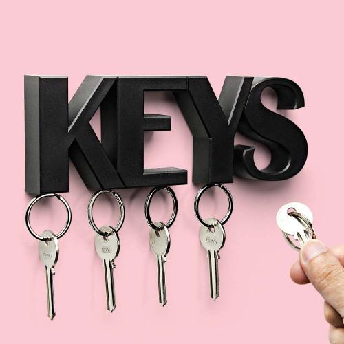 מתלה מפתחות מגנטי מעוצב לקיר - שחור  KEYS
