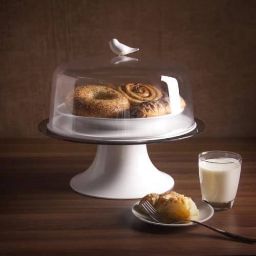 מגש ומכסה פעמון לעוגה QUALY ציפור -