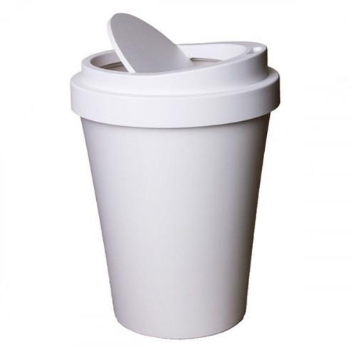 QUALY מיני פח בעיצוב כוס קפה - לבן