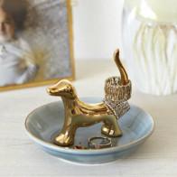 כלב פורצלן מוזהב לטבעות ותכשיטים Bassotto