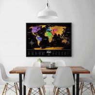 מפת עולם מתגרדת - שחור זהב Travel Map