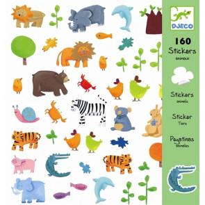 160 מדבקות חיות צבעוניות  - DJECO