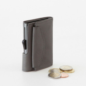 ארנק אלומיניום בשילוב עור סינטטי עם תא למטבעות - אפור