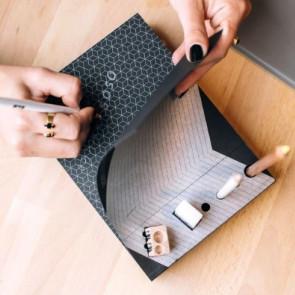 בלוק שחור עפרונות לבנים Memo Pad & Organizer