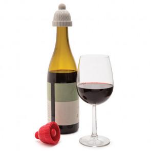 BEANIE זוג פקקים לבקבוקי יין - דגם כובע צמר אפור בהיר ואדום