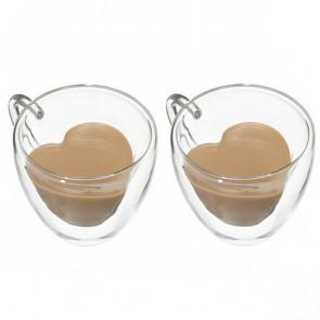 סט 2 כוסות אספרסו זכוכית כפולה בצורת לב