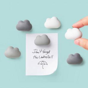 QUALY סט מגנטים מעוצבים למקרר - עננים - אפור