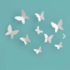 MARIPOSA פרפרים דקורטיביים לקיר- לבן
