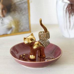 חתול פורצלן מוזהב לטבעות ותכשיטים Gatto