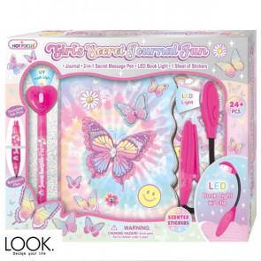 יומן הסודי עם עט מרגלים ומנורה - פרפרים