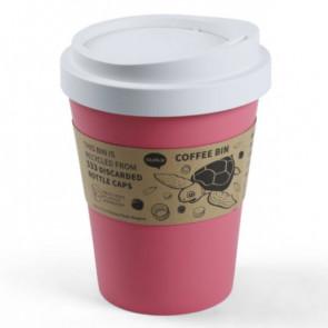 QUALY  פח בעיצוב כוס קפה  - ורוד פסטל