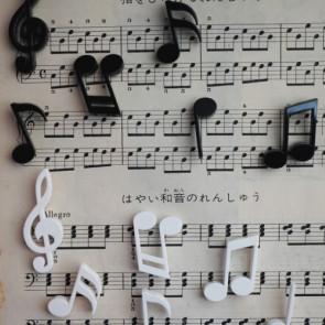 QUALY  סט מגנטים תווים מוסיקליים לבן