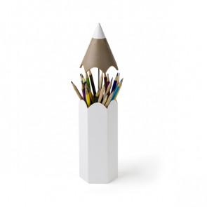 מעמד לכלי כתיבה בצורת עפרון לבן - QUALY