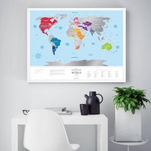 מפת עולם מתגרדת - כחול כסף Travel Map