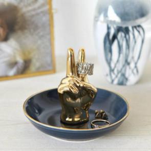 יד פורצלן מוזהבת לטבעות ותכשיטים Vittoria